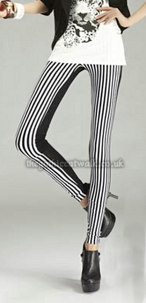 Black & White Stripe Punk Psychobilly Leggings