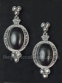 Gothic Victorian Black Cabochon Earrings