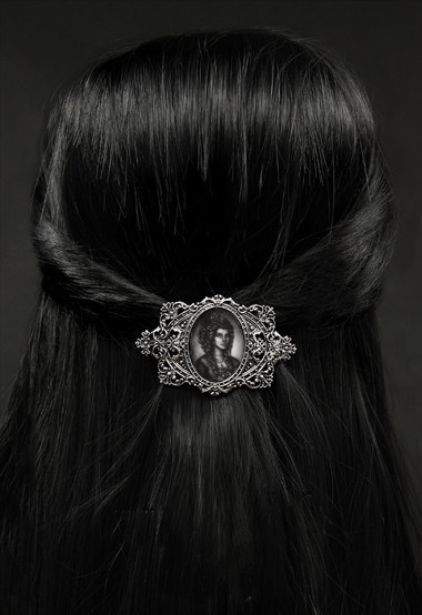 Lady & Skeleton Hologram Gothic Hairclip