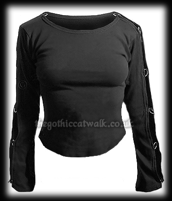 Black Gothic Punk T-Shirt with Ringed Sleeves