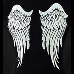 Black T-Shirt with Printed Angel Wings