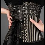 Black & Pale Gold Steel Boned Underbust Corset