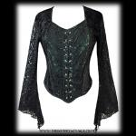 Black & Green Velvet Gothic Bodice Top