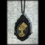 Large Steampunk Gothic Victorian Cameo Necklace - Skeleton Gent