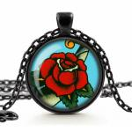Red Rose Tattoo Cameo Necklace