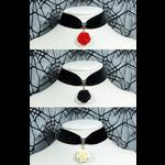 Black Velvet Rose Choker - Red Black Ivory