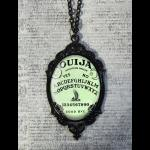 Large Gothic Glass Cameo Necklace - Green Ouija Board