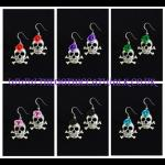 Silver Skull Earrings with Roses - Choice of Colours