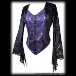 Black Velvet & Purple Satin Gothic Bodice Top