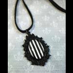 Steampunk Circus Black & White Striped Necklace