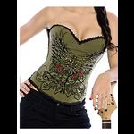 Pin Up Rock Tattoo Design Corset - Khaki