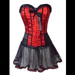 Red & Black Satin Corset with Tutu