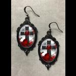 Glass Cameo Gothic Earrings - Cross & Red Roses
