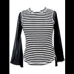 Psychobilly Punk Black & White Striped T-Shirt