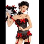 Pin Up Burlesque Black Satin Corset with Red Bows