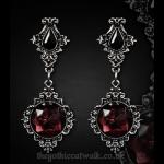 Gothic Victorian Pewter Lenore Earrings - Wine