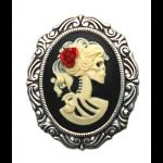 Gothic Skull Cameo Brooch - Day of the Dead (R)