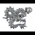 Diamante Dragon Brooch with Pearl