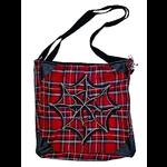 Gothic Punk Red Tartan Shoulder Bag with Zip Detail