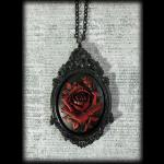Large Gothic Victorian Cameo Necklace - Dark Red Rose