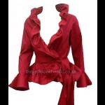Red Jacket Top with Ruffle Neck
