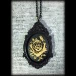 Large Gothic Victorian Cameo Necklace - Ivory Rose on Black