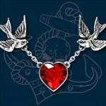 Alchemy Swallow Heart Necklace with Red Crystal