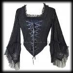 Black & Purple Cobweb Lace Gothic Bodice Top