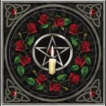 Pentacle Candle & Roses Greetings Card