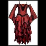 Long Red Gothic Silk Dress - Detachable Sleeves
