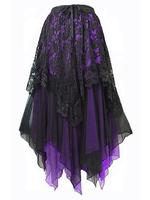 Black Lace & Purple Chiffon Long Gothic Skirt