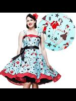Hell Bunny 50s Turquoise Pin Up Print Dixie Dress