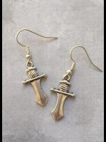 Gothic Vampire Silver Dagger Earrings