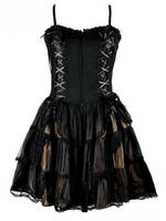 Black & Bronze Silk & Net Gothic Roses Corset Dress