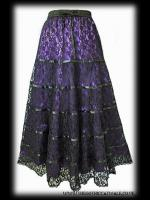 Purple Satin & Black Lace Tiered Gothic Skirt