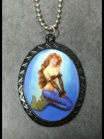 Pin Up Cameo Necklace - Sexy Mermaid