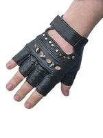 Black Leather Men's Gothic Gloves - Bullets