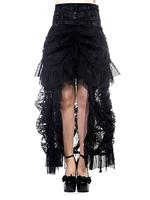 Plus Size Long Black Lace Gothic Victorian Bustle Skirt