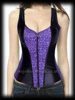 Black & Purple Gothic Damask Bodice Top