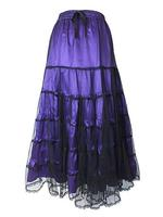 Long Purple Satin & Net Tiered Gothic Skirt
