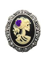 Gothic Skull Cameo Brooch - Day of the Dead (P)
