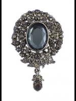 Victorian Style Smoky Crystal Pendant Brooch