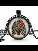 Ribcage & Heart Glass Cameo Gothic Necklace