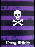 Gothic Punk Birthday Card - Purple Stripes with Skull
