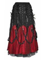Long Red & Black Gothic Punk Buckle Skirt by Dark Star