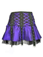 Purple & Black Gothic Punk Mini Corset Skirt