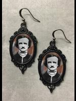 Glass Cameo Gothic Earrings - Edgar Allan Poe Portrait