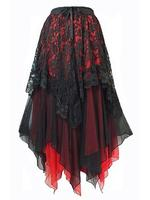 Black Lace & Red Chiffon Long Gothic Skirt