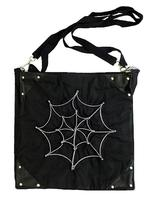 Gothic Punk Black Shoulder Bag with Cobweb Zip
