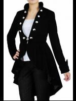 Plus Size Black Velvet Gothic Victorian Jacket with Buttons